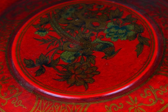 A PAINTED GOLD FLOWER PATTERN FOOD BOX - 2