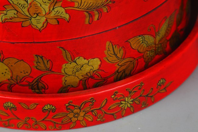 A PAINTED GOLD FLOWER PATTERN FOOD BOX - 4