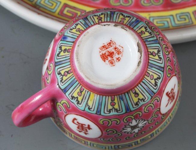 A SET OF COLORFUL PORCELAIN TEA POT - 4