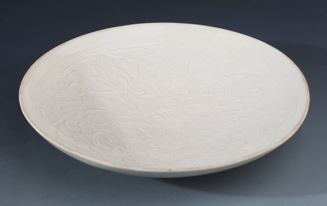 "A RARE AND FINELY CARVED PORCELAIN PLATE, ""DING YAO"" - 2"