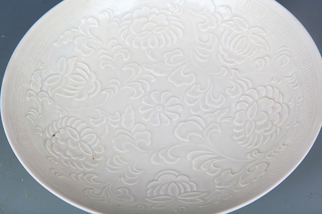 DING YAO WHITE FLORAL PRINTED FLOWER PLATE - 4