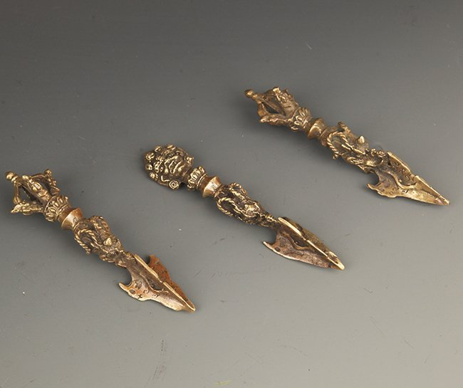 GROUP OF THREE TIBETAN BUDDHISM VAJRA - 2