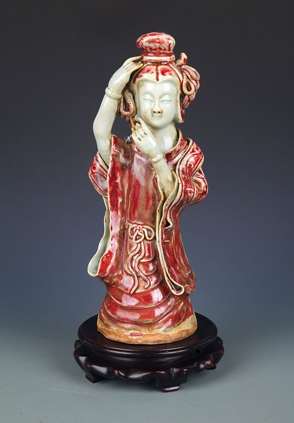 "GLAZE RED ""YOU LI HONG"" XI SHI FIGURE"