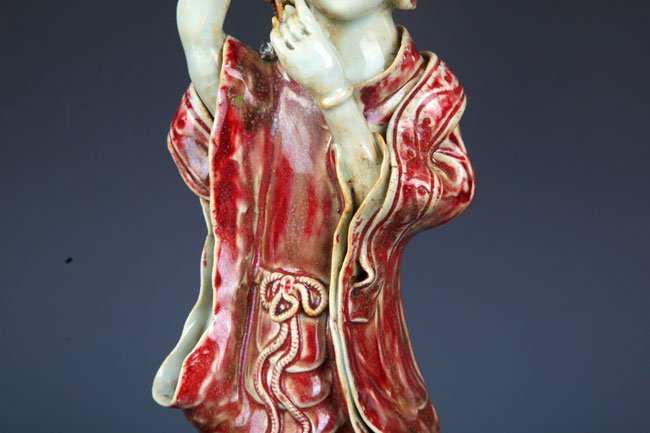 "GLAZE RED ""YOU LI HONG"" XI SHI FIGURE - 3"