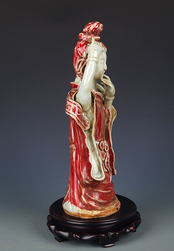 "GLAZE RED ""YOU LI HONG"" XI SHI FIGURE - 5"