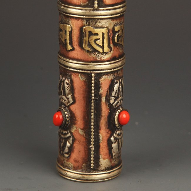 A FINE BRONZE TIBETAN INCENSE HOLDER - 4