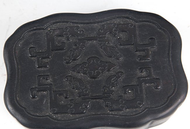 A FINELY CARVED ZITAN BOX WITH COVER - 2