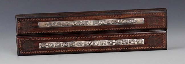 A SET OF SILVER PLATED PAPER WEIGHT WITH BOXWOOD - 2