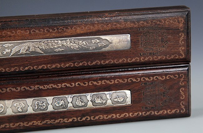 A SET OF SILVER PLATED PAPER WEIGHT WITH BOXWOOD - 4