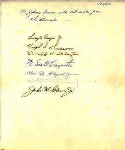 7201A: Incredible Early NASA Mercury 7 Astronaut Signat