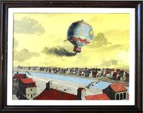16: Historic Painting of DeRozier's  Balloon