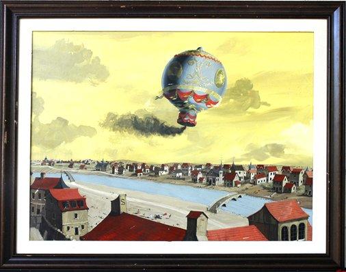 16: Historic Painting of DeRozier's  Balloon