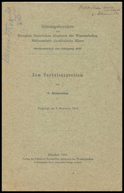 "19: ""Zum Turbulenzproblem"" by Blumenthal"