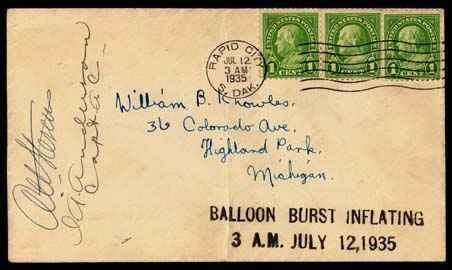 22: 1935, Rapid City, SD Balloon Flight Cover