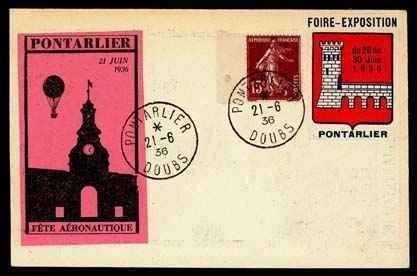 23: 1936, Pontarlier Balloon Flight Cards,