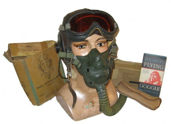 5: Leather Flight Helmet Type A 14 Oxygen Mask & Goggle