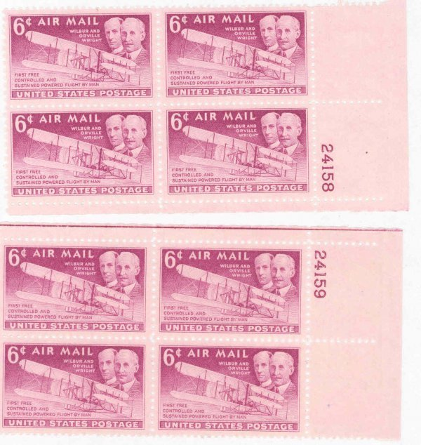 11: Lot of 8 Wright Brothers US Air Mail 6c Stamps