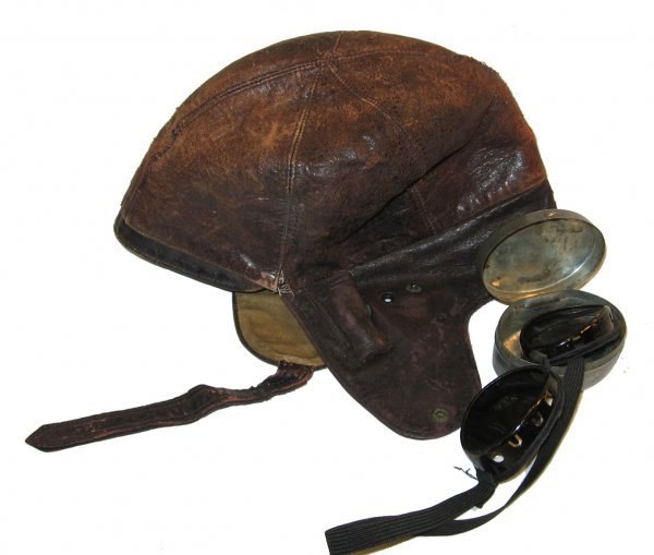 "13: ""The Lindy"" Child's Leather Flight Helmet & Goggles"