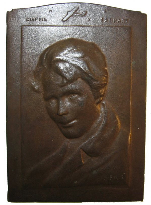 20: Amelia Earhart Commemorative Bronze Plaque