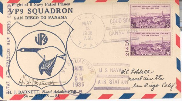21: 1936 H.H. Barnett Autograph on VP9 Squadron Cover