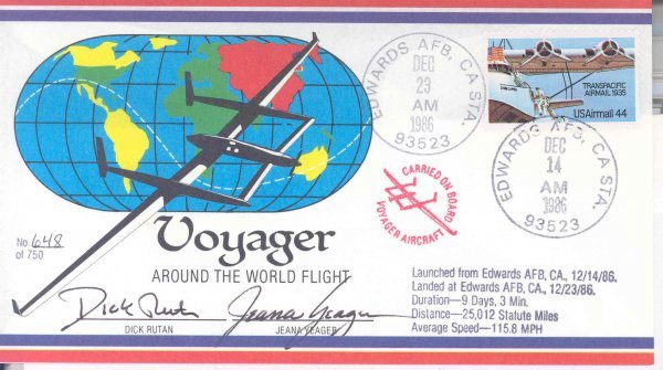 1986 Cover # 648/750 Flown on Voyager RTW Flight