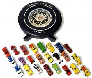 65: Tire Shaped Hot Wheels Carrying Case with 24 Toy Ca