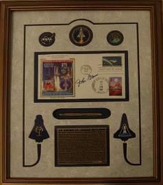830: John Glenn Autograph on STS 95 Cover + Space Pen