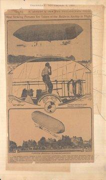 1: 1908 Newspaper Article Flight of Baldwin Dirigible