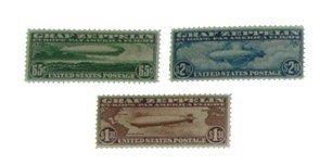 5: Set Mint OG US 1930 Graf Zeppelin Air Mail Stamps
