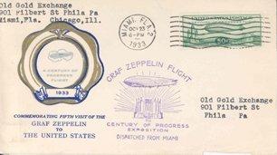 8: 1933 Graf Zeppelin Century of Progress Stamp