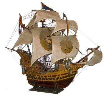 10702: Lg Model Spanish 3Masted Ship Lamp