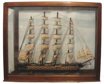 10705: Lg Model 4 Masted Man of War Ship