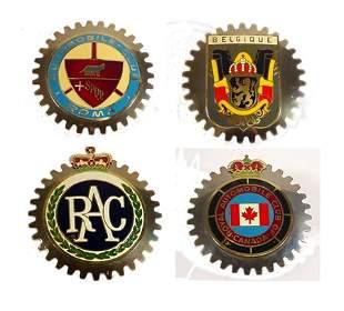 4 Vintage Enameled Car Badges Vintage car