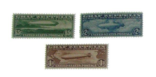 13: Set Unused US 1930 Graf  Zeppelin Air Mail Stamps