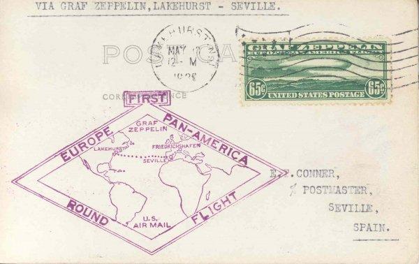 14: Flown Scott C13 Graf Zeppelin 65c US Postage Stamp