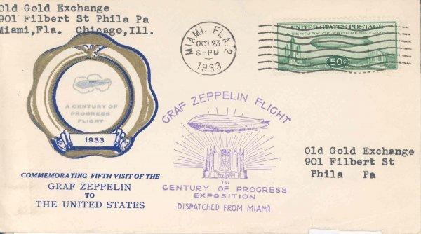 19: Flown c1933 Scott C18 Graf Zeppelin 50 c US Stamp