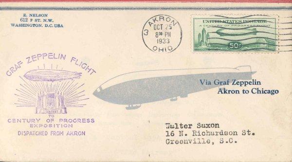 20: Flown 1933 Scott C18 Graf Zeppelin US Stamp
