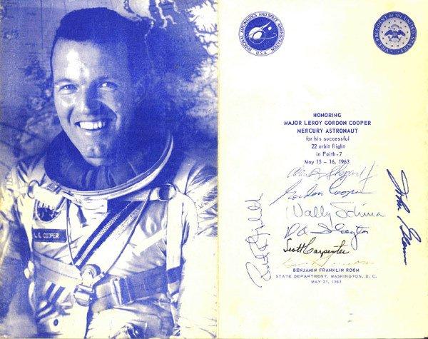 4: All 7 Mercury Astronauts Autographs Alan Shepard, Go