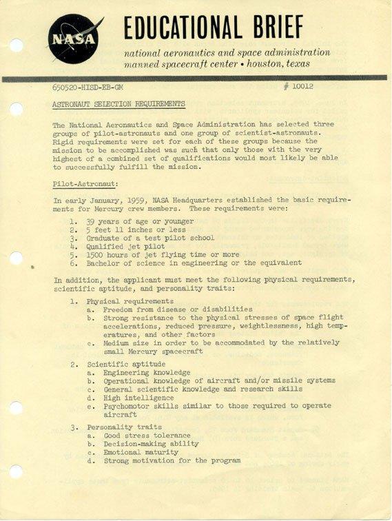 "26: NASA Pamphlet  ""Astronaut Selection Criteria"" 1960'"