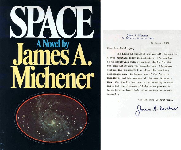 "1505: James Michener Autograph First Edition ""Space"" on"