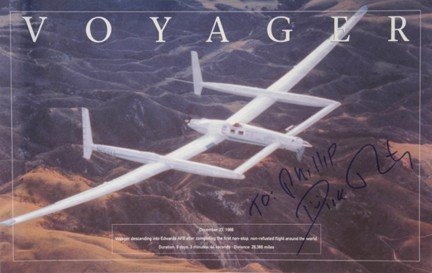 100182: Dick Rutan Autograph Voyager Flight Commemorative