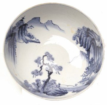 11: Large Blue and White Chinese Export Porcelain  Bowl