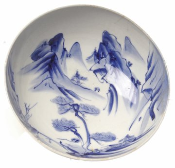 22: Large Blue and White Japanese Export Porcelain Bowl