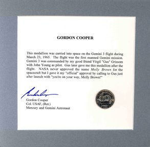 145: Flown Gemini 3 Medallion Gus Grissom John Young