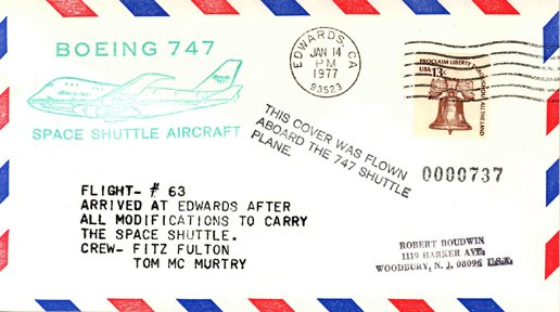 711: Cover Flown on the Boeing 747 Space Shuttle Aircra