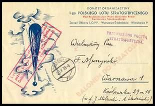 1938, Polish Balloon Flight Card Souvenir