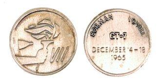 230: Flown 29mm. Sterling Gemini 7 Medallion