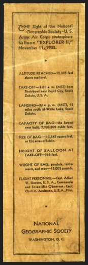 "7: 1935, ""Explorer II"" FLOWN Balloon Fabric"