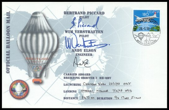 "11: 1998, ""Breitling Orbiter 2"" FLOWN Cover"