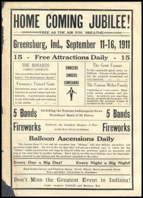 "1911, ""Home Coming Jubilee"" Handbill"